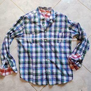 Ted Baker London Shirts - Ted Baker London Purple Green Blue Plaid Shirt XL
